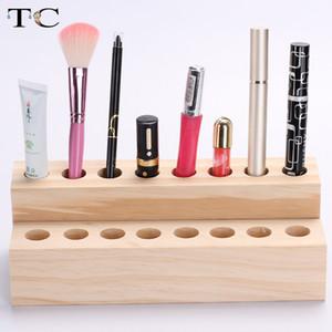 Soporte de lápiz labial de cosméticos de madera maciza soporte de acabado de escritorio lápiz de cejas cosméticos lápiz labial y estante de labios