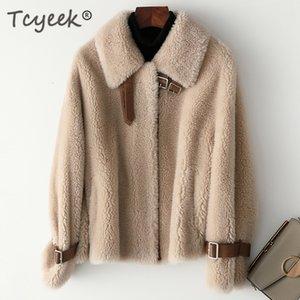 Tcyek Sheep Shearling Real Fur Coat Winter Coat Women 100% Wool Coates And Steat Women Clothes 2019 Korean short Jacket T200319