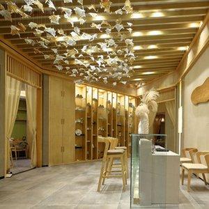 Art Decorative Hotel Maple Leaf Leaf Lampadario Illuminazione Contemporanea Blown Blown Glass Art Pendant Illuminazione Hotel Progetto Luce Home Decor