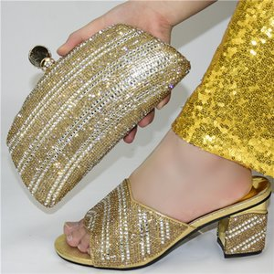 Super High Heels African Ladies Matching Shoes and Bag Material with Pu Italian Gold Color Shoes and Bags Set for Party Women Shoe and Bag