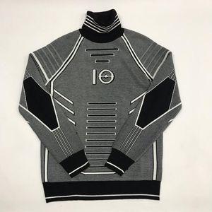 19SS Swaeter y Negro línea blanca Decoración camisetas de la manera Sentido de Ciencia Tecnología de manga larga de punto Sanitaria HFHLWY015