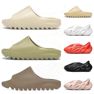 Пена бегун Канье Уэст забивают сандалии тройных черные белых горок моды тапочки женской мужские пляжные сандалии флип-флоп 36-45
