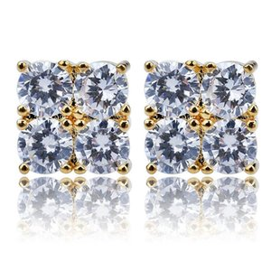 New Custom Gold Silver Color hip Hop Iced Out Cubic Zircon Square Stud Earring with Block Screw Back Party Jewelry