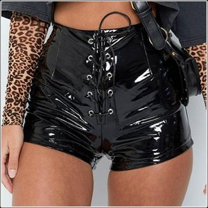 Women Sexy PU Patent Leather Bandage Skinny Shorts High Waist Lace Up PVC Latex Solid Color Package Hip Shorts Capris Nightclub