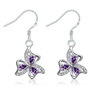 5 paires boucles d'oreilles goutte d'eau coeur fleur or plaqué boucles d'oreilles cristal violet zircon gemmes femmes chandelier boucles d'oreilles bijoux