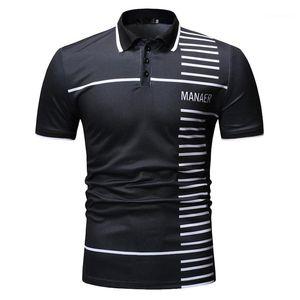 Stripe lambrissé Imprimer Mens Designer Fashion Polos Lapel Neck Hommes manches courtes Polos hommes Casual Lettre Vêtements
