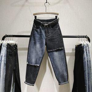Gevşek Jeans Erkek arkadaşı Kadınlar Renk Patch için kot Pantalones De Mujer Nancylim Ripped