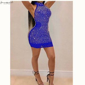 2020 Sexy Women Lady Bling Backless Bandage Bodycon Evening Party Club Short Mini Dress Plus Size S 3Xl