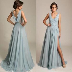 Dusty Azul Chiffon Prom Dresses V Neck apliques drapeado Voltar alta Dividir baratos dama Vestido Sexy Formal Evening vestidos baratos