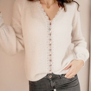 Women Chic Lace Patchwork Knitted Cardigan Sweet Lady V Neck Knitted Sweater Jacket Tops