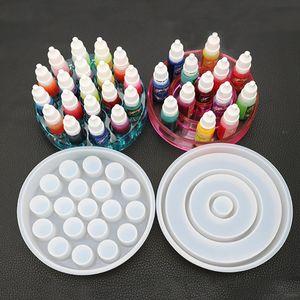 Nueva DIY hecho a mano de cristal de silicona para la botella de resina epoxi Resina Pigmento lápiz labial Caja de almacenamiento pegamento UV Moldes
