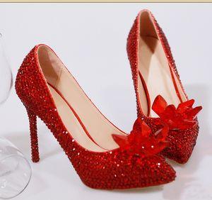 2019 neue Art und Weise T-Show sexy Frauen Superstar Kleidschuhe hohe Absätze Cinderella Glas Pantoffel Pumpen rot Silber Hochzeit Schuhe Partei Schuhe