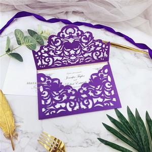 진심으로 초대 - 소비자 삽입, 개인 레이저 컷 결혼식 초대와 쉬머 보라색과 반짝이 골드 레이저 컷 포켓을