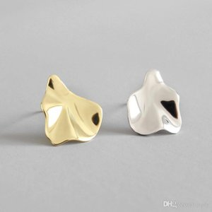 Authentic 925 Sterling Silver Irregular Concave Convex Stud Earrings For Women Students New Fashion Female Geometric Earring