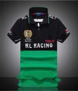 T-shirt Hauts de Cool Vêtements de haute qualité pour hommes Lapel Neck Cotton Shirt Casual Polos Broderie Racing Hommes