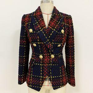 Premium-Marke neu mit Label-Top Qualität Original Design Frauen zweireihige Metallschnalle Blazer Plaid dünne Jacke Tweed-Mantel Outwear