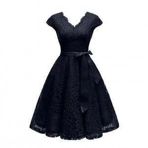 Fashion-Aovica V-образным вырезом кружева длиной до колен женские платья с короткими рукавами платье для женщин женские Vestidos новое поступление шикарная самая низкая цена