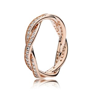 18K Rose gold Sparkling Twisted Lines Ring for Pandora 925 Sterling Silver Women Wedding Rings sets with Original