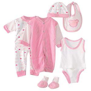 8pcs Newborn Baby Boy Girl Tops+hat+pants +bib+sock Shose+romper Outfits Set Children's Clothes Summer Fashion Baby Suit #LR1