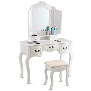 White Tri Folding Mirror Wood Vanity Makeup Table Set with Stool &5 Drawers