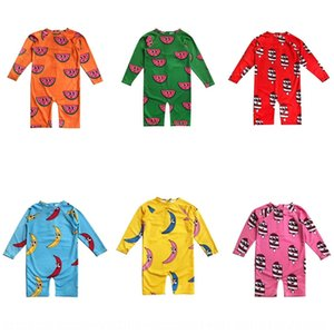 Children long-sleeved boy foreign flavor sunscreen in the big Swimsuit sea spa girl's one-piece quick-drying swimsuit