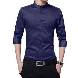 BROWON Mens Shirts Casual Slim Fit Shirt Long Sleeve Stand Collar 100% Cotton Formal Shirts for Men Oversized Size 5XL