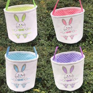Easter Basket Canvas Rabbit Baskets Bunny Ears Buckets Rabbit Tail Pail Latest Easter Eggs Hunt Bag