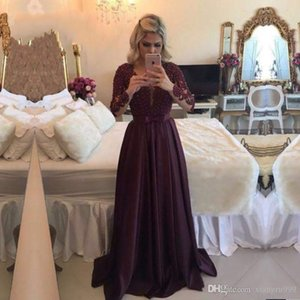 Fengyudress Lace Applique Beaded Evening Dresses Illusion Jewel Long Sleeves Prom Dress Floor Length A-line Special Occasion Dress