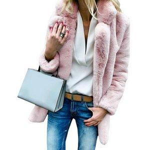 Женский меховой меховой искусственный Jodimitty женские пальто зимняя сплошная мода открытая точка зрения женский роскошный с длинным рукавом теплый толстый пушистый пальто