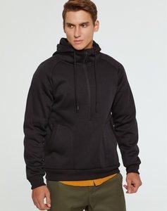2019 invierno de los hombres suéter con capucha Zip Up Deportes sudadera con capucha sudor chaqueta delgada del ajuste Top Coat