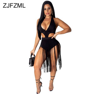 V Neck Hollow Tassels Body Summer Backless Sleeveless Skinny Club Pagliaccetti Womens Jumpsuit Taglie forti sexy Tute corte