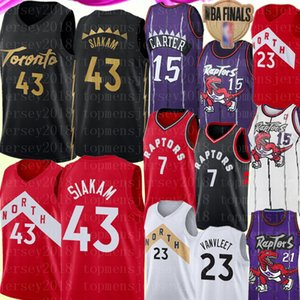 NCAA Pascal 43 Siakam Kyle 7 Lowry Jersey Retro Vince 15 Carter Marcus Camby 21 Jersey New Fred 23 VanVleet Basketbol Formalar