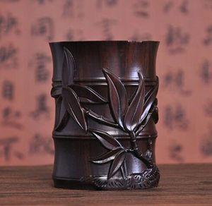 Çin Ahşap Oyma Hanedanı Saray Bambu Fırça Pot Kalem Vazo Kalem Containe ev dekorasyon Çiçekler böcekler heykeli Ahşap el sanatları