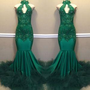 Emerald Green Sexy cuello alto apliques vestidos de baile 2019 sirena hueco lentejuelas vestidos de noche largos para el vestido del desfile negro africano BC1811