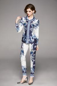 Frühling, Sommer, Herbst Runway 2ST Dame-Sets Vintage-Blumendruck-Kragen Langarm Top-Hemd-Bluse + Luxus-Hosen-Anzüge Outfits