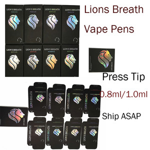 Lions Breath Vape Cartridges Vapes Pens Carts 510 Oil Cartridge Ceramic Coil Vaporizer 0.8ml1.0ml Round Press Tip Atomizer Instock New Kit