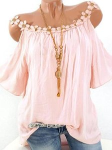 2019 designer Womens Summer Tshirt Lace Crew Neck Solid Color Tee Sexy Slash Neck for Female with 5 Colors wholesale