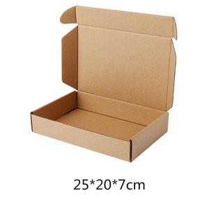 Brown Kraft Boîtes en carton Business Express Livraison Panier Emballage papier Paquet Boîte postale 25 * 20 * 7cm