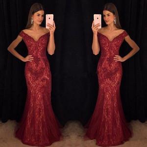 Modest Wine Red Dresses de noche Mermaid Off-Shoulder Lace Borgoña de encaje con cuentas Prom Celebrity vestidos vestido para la ropa formal del partido