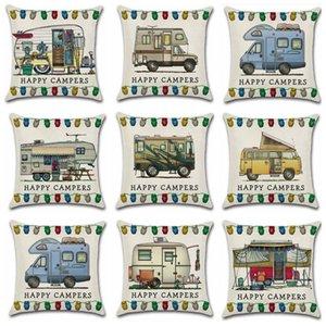 Los campistas felices caja de la almohadilla los 45 * 45cm del coche que viaja almohada del tiro de lino del amortiguador de la cubierta Home Cafe decoración de la oficina GGA3233 regalo