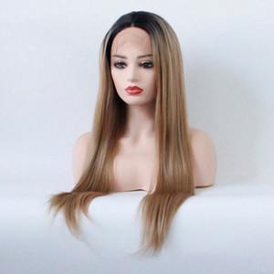 Ombre color 1b / sintéticos Rubio raíces del frente del cordón pelucas oscuro Dos Tonos de calor resistente de fibra suave larga recta del pelo 1B / 27 DailyCosplay pelucas