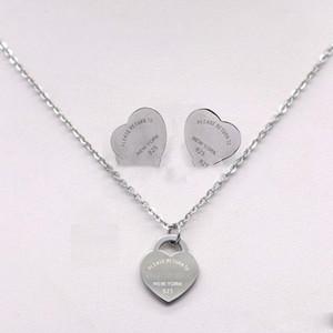 3 cores prata titânio inoxidável de aço letra dupla amor do coração T brincos colar para Mulheres jóia do casamento