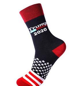 Donald Trump President Socks 2020 American Stars Stripped Sock Cotton Middle Unisex Socks 4 styles KKA7816