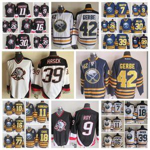 Retro de la moda de New Buffalo Sabres 39 Dominik Hasek 89 Alexander Mogilny 7 Rick Martin 9 Derek Roy para hombre Blanco Azul cosido los jerseys del hockey