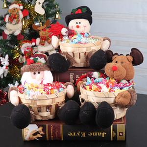 귀여운 크리스마스 캔디 저장 대나무 바구니 크리스마스 선물 데스크톱 사탕 플레이트 장식 산타 클로스 캔디 저장 바구니에 담은 장식 BH2433 ZX