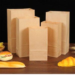 Papel Kraft Food Bag cuadrado inferior Hornear Packaging película recubierta de aceite a prueba de pan para llevar la bolsa de papel de embalaje bolsa de papel A05