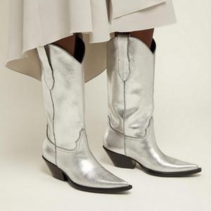 2019 Western Bottes Femme Sleek Stacked Кубинские туфли на каблуках Женщины Потрясающие черные белые серебристые кожаные носки ковбойские сапоги