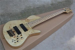 Custom Fode 5 String Burl Natrual Wood Spalted Maple Top Electric Bass Guitar Maple Fingerboard Abalone Dot Inlay Butterfly Headstock