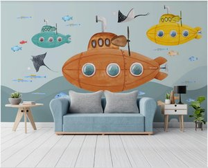 3d wallpaper custom photo HD hand-painted cartoon submarine underwater world children's room background home decor wall paper for walls 3 d