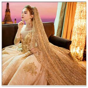 Luxury 2020 Champagne Gold 3,5 метра Длинные свадебные Veil пришивания Фата Один слой Cut края игристые Вуаль с расческой